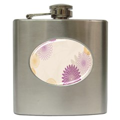 Star Sunflower Floral Grey Purple Orange Hip Flask (6 Oz)