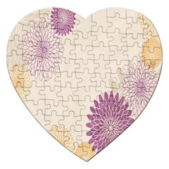 Star Sunflower Floral Grey Purple Orange Jigsaw Puzzle (heart) by Mariart