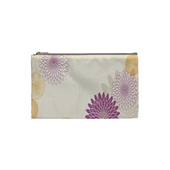 Star Sunflower Floral Grey Purple Orange Cosmetic Bag (small)  by Mariart