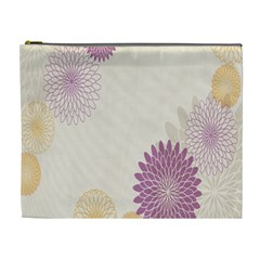 Star Sunflower Floral Grey Purple Orange Cosmetic Bag (xl) by Mariart