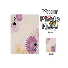 Star Sunflower Floral Grey Purple Orange Playing Cards 54 (mini)  by Mariart