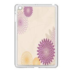 Star Sunflower Floral Grey Purple Orange Apple Ipad Mini Case (white) by Mariart