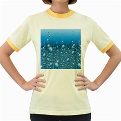 Water Bubble Blue Foam Women s Fitted Ringer T Shirts by Mariart