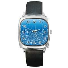 Water Bubble Blue Foam Square Metal Watch by Mariart