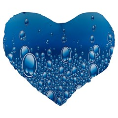 Water Bubble Blue Foam Large 19  Premium Heart Shape Cushions by Mariart