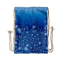 Water Bubble Blue Foam Drawstring Bag (small) by Mariart