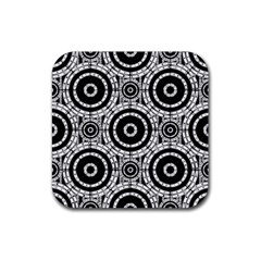 Geometric Black And White Rubber Coaster (square)  by linceazul