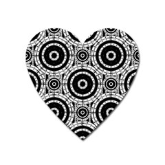 Geometric Black And White Heart Magnet by linceazul