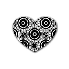 Geometric Black And White Rubber Coaster (heart)  by linceazul