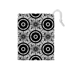 Geometric Black And White Drawstring Pouches (medium)  by linceazul