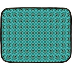 Turquoise Damask Pattern Fleece Blanket (mini) by linceazul