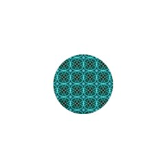 Turquoise Damask Pattern 1  Mini Buttons by linceazul