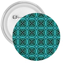 Turquoise Damask Pattern 3  Buttons