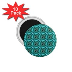 Turquoise Damask Pattern 1 75  Magnets (10 Pack)  by linceazul