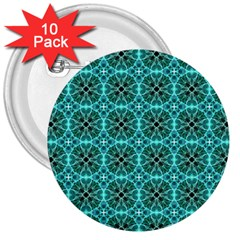 Turquoise Damask Pattern 3  Buttons (10 Pack)  by linceazul