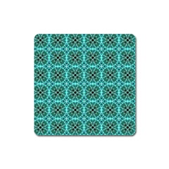 Turquoise Damask Pattern Square Magnet by linceazul