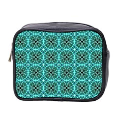 Turquoise Damask Pattern Mini Toiletries Bag 2 Side by linceazul