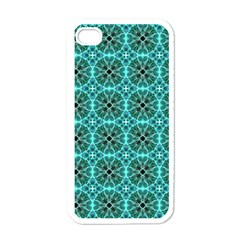 Turquoise Damask Pattern Apple Iphone 4 Case (white) by linceazul