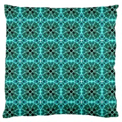 Turquoise Damask Pattern Large Cushion Case (one Side) by linceazul