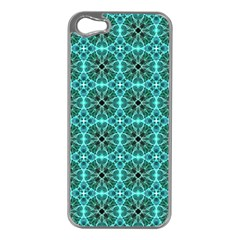 Turquoise Damask Pattern Apple Iphone 5 Case (silver) by linceazul