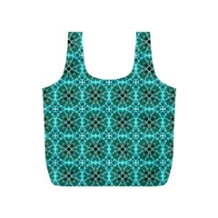 Turquoise Damask Pattern Full Print Recycle Bags (s)  by linceazul