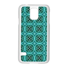 Turquoise Damask Pattern Samsung Galaxy S5 Case (white) by linceazul