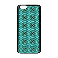 Turquoise Damask Pattern Apple Iphone 6/6s Black Enamel Case by linceazul