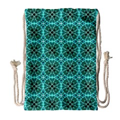Turquoise Damask Pattern Drawstring Bag (large) by linceazul