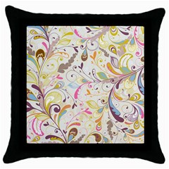 Colorful Seamless Floral Background Throw Pillow Case (black) by TastefulDesigns