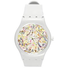Colorful Seamless Floral Background Round Plastic Sport Watch (m) by TastefulDesigns