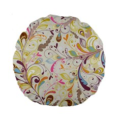 Colorful Seamless Floral Background Standard 15  Premium Round Cushions by TastefulDesigns