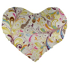 Colorful Seamless Floral Background Large 19  Premium Flano Heart Shape Cushions by TastefulDesigns