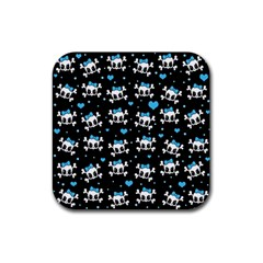 Cute Skulls  Rubber Square Coaster (4 Pack)  by Valentinaart