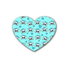 Cute Skull Rubber Coaster (heart)