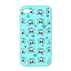 Cute Skull Apple Iphone 4 Case (color) by Valentinaart