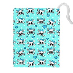 Cute Skull Drawstring Pouches (xxl) by Valentinaart