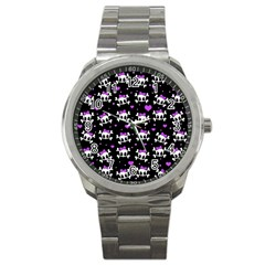 Cute Skull Sport Metal Watch by Valentinaart