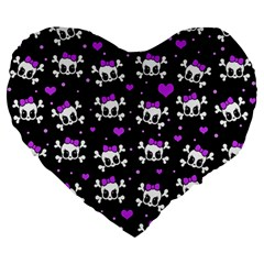 Cute Skull Large 19  Premium Heart Shape Cushions by Valentinaart