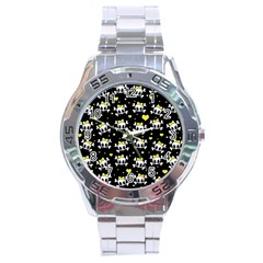 Cute Skull Stainless Steel Analogue Watch by Valentinaart