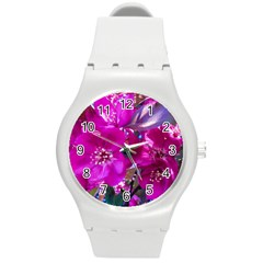 Pretty In Fuchsia Round Plastic Sport Watch (m) by dawnsiegler