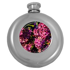 Lilacs Round Hip Flask (5 Oz) by dawnsiegler