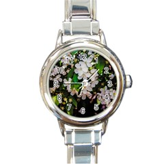 Tree Blossoms Round Italian Charm Watch by dawnsiegler