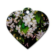 Tree Blossoms Dog Tag Heart (one Side) by dawnsiegler