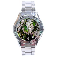 Tree Blossoms Stainless Steel Analogue Watch by dawnsiegler