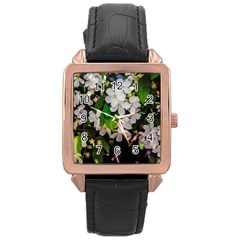 Tree Blossoms Rose Gold Leather Watch  by dawnsiegler