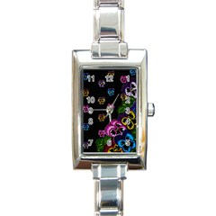 Floral Rhapsody Pt 1 Rectangle Italian Charm Watch by dawnsiegler