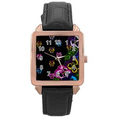 Floral Rhapsody Pt 1 Rose Gold Leather Watch  by dawnsiegler