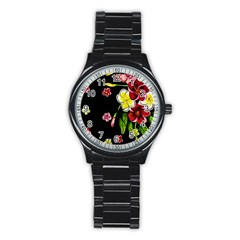 Floral Rhapsody Pt 2 Stainless Steel Round Watch by dawnsiegler