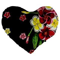Floral Rhapsody Pt 2 Large 19  Premium Flano Heart Shape Cushions by dawnsiegler