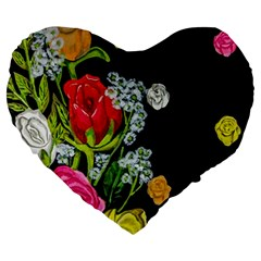 Floral Rhapsody Pt 4 Large 19  Premium Flano Heart Shape Cushions by dawnsiegler